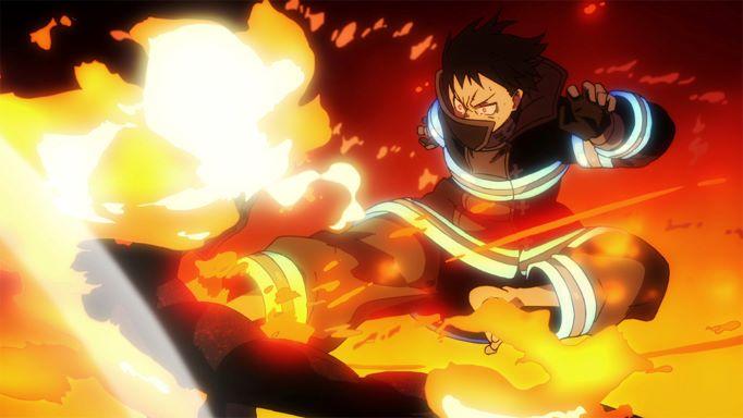 Shinra kusakabe is kicking an infernal